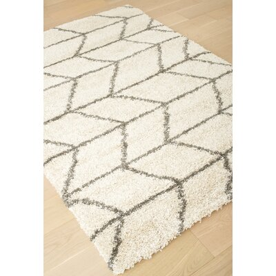 Tefft Ivory/Charcoal Area Rug Rug Size: 53 x 76