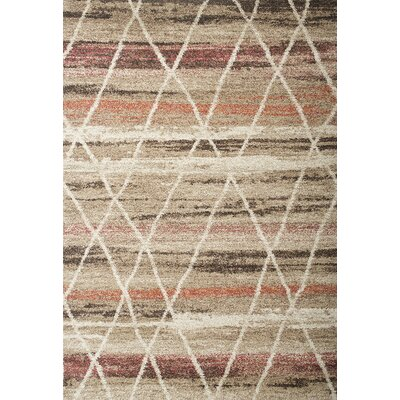 Teasley Beige/Brown Area Rug Rug Size: Rectangle 53 x 76
