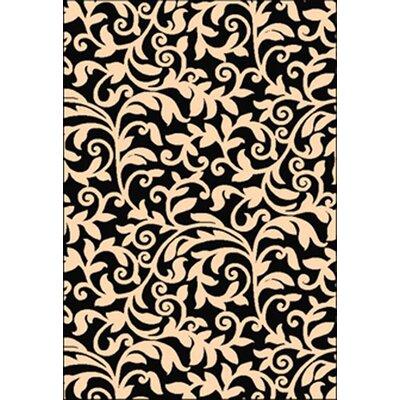 Estella Black/Ivory Area Rug Rug Size: 53 x 76