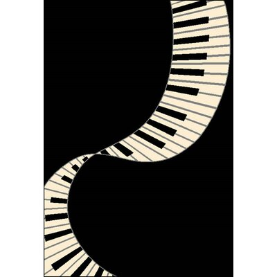 Nola Black/Ivory Area Rug Rug Size: 53 x 76