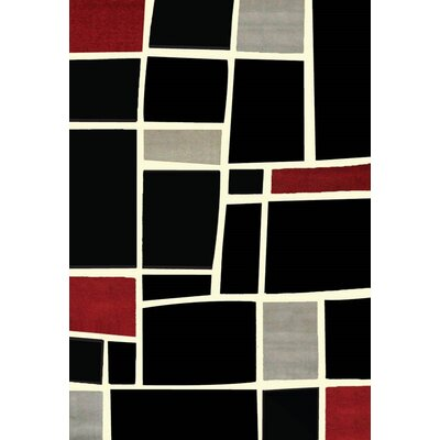 Cerna Black/Red Area Rug Rug Size: 53 x 76