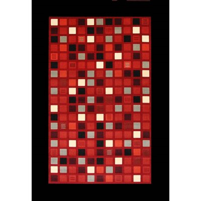 Colesville Red/Black Area Rug Rug Size: 53 x 76