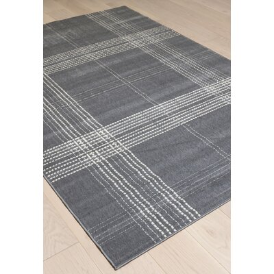 Kohala Plaid Gray/Ivory Area Rug Rug Size: 53 x 76