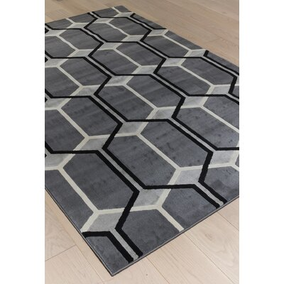 Colesberry Gray/Black Area Rug Rug Size: 79 x 106