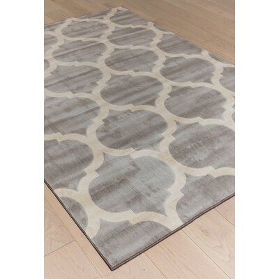 Estelle Gray/Ivory Area Rug Rug Size: 79 x 106