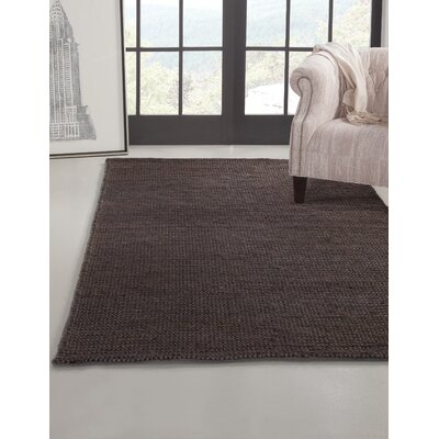 Allicia Hand-Woven Jute Charcoal Indoor Area Rug Rug Size: Rectangle 8 x 10