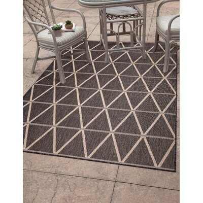 Glinda Charcoal/Beige Indoor/Outdoor Area Rug Rug Size: Rectangle 5 x 8