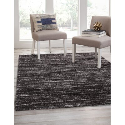 Bharat Charcoal/Ivory Area Rug Rug Size: Rectangle 8 x 10