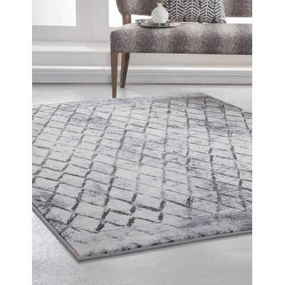 Wilken Machine Woven Synthetic Ivory/Charcoal Indoor Area Rug Rug Size: Rectangle 5 x 8