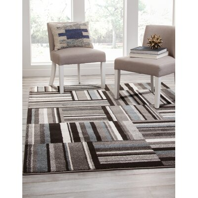 Brissette Black/Gray Area Rug Rug Size: Rectangle 8 x 10