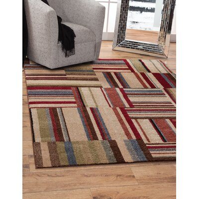 Brissette Beige/Red Area Rug Rug Size: Rectangle 8 x 10