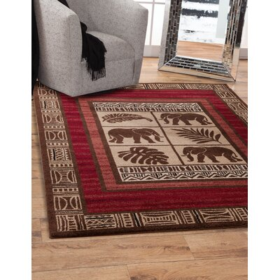 Turlock Machine Woven Synthetic Beige/Red Indoor Area Rug Rug Size: Rectangle 8 x 10
