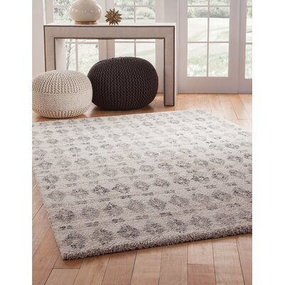 Foundry Select Adamsburg Shag/Flokati Synthetic Ivory/Charcoal Indoor Area Rug Rug Size: Rectangle 8 x 10