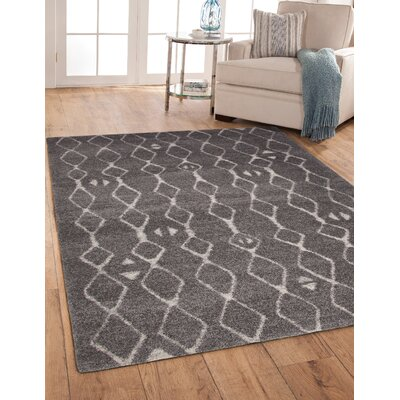 Adamsburg Shag/Flokati Synethic Gray/Ivory Indoor Area Rug Rug Size: Rectangle 5 x 8