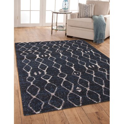 Adamsburg Shag/Flokati Synthetic Blue/Natural Indoor Area Rug Rug Size: Rectangle 5 x 8