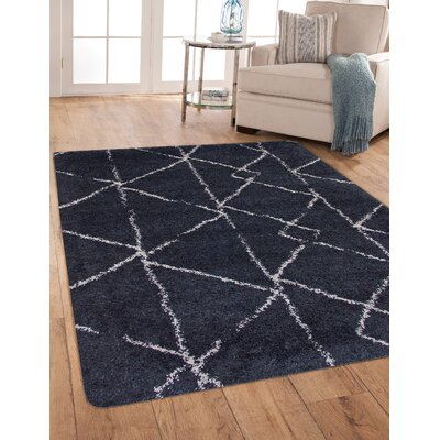 Tefft Shag/Flokati Synthetic Blue/Ivory Indoor Area Rug Rug Size: Rectangle 53 x 76