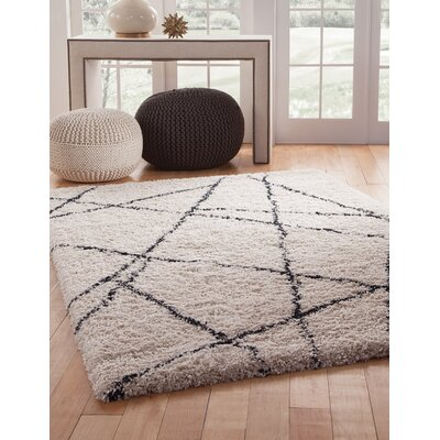 Tefft Shag/Flokati Synthetic Ivory/Blue Indoor Area Rug Rug Size: Rectangle 8 x 10