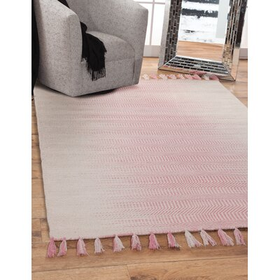 Briarden Hand-Woven Wool Pink/Ivory Indoor Area Rug Rug Size: Rectangle 8 x 10