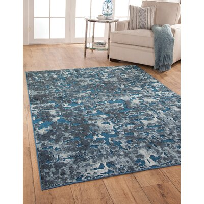 Teague Machine Woven Synthetic/Chenille Blue/Ivory Indoor Area Rug Rug Size: Rectangle 5 x 8