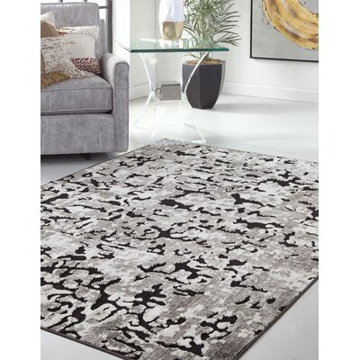 Teague Machine Woven Synthetic/Chenille Black/Ivory Indoor Area Rug Rug Size: Rectangle 5 x 8