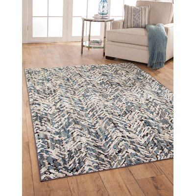 Teague Machine Woven Synthetic/Chenille Blue/Natural Area Rug Rug Size: Rectangle 5 x 8