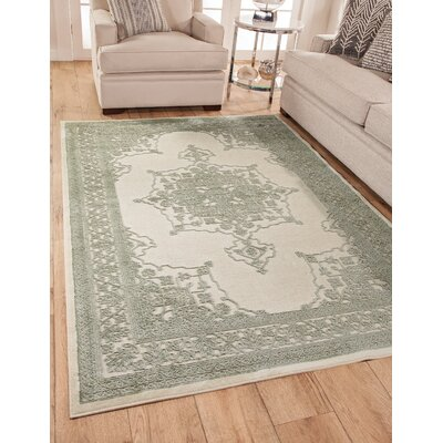 Wesner Machine Woven Synthetic Green/Ivory Indoor Area Rug Rug Size: Rectangle 8 x 10