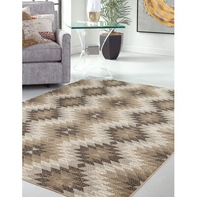 Foulds Machine Woven Synthetic Brown/Ivory Indoor Area Rug Rug Size: Rectangle 8 x 10
