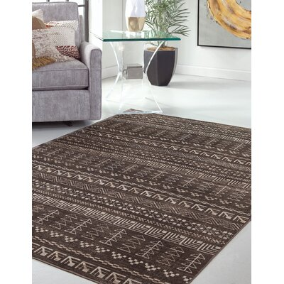 Addie Brown/Ivory Area Rug Rug Size: Rectangle 8 x 10