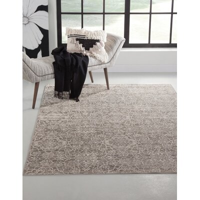 Beecroft Machine Woven Synthetic Gray/Ivory Indoor Area Rug Rug Size: Rectangle 5 x 8