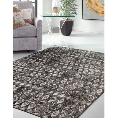Garrett Charcoal/Ivory Area Rug Rug Size: Rectangle 8 x 10