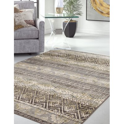 Bryzel Brown/Green Area Rug Rug Size: Rectangle 8 x 10