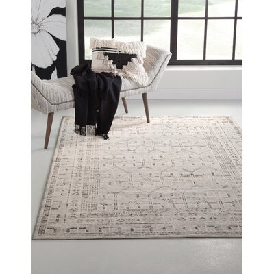 Bryzel Charcoal/Ivory Area Rug Rug Size: Rectangle 8 x 10