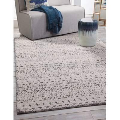 Lloyd Hand Woven Wool White/Blue Area Rug Rug Size: Rectangle 5 x 8