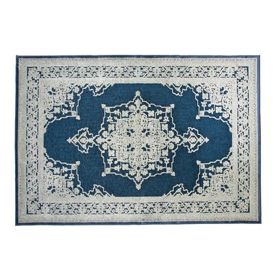 Wesner Machine Woven Synthetic Blue/Natural Indoor Area Rug Rug Size: Rectangle 8 x 10