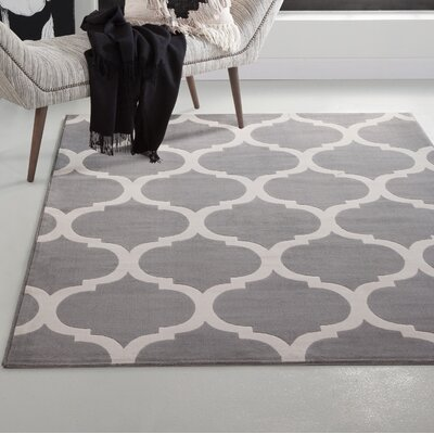 Estelle Trellis Machine Woven Synthetic Gray/Ivory Area Rug Rug Size: Rectangle 5 x 8