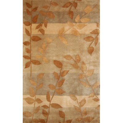 Mystic Hand-Knotted Gold/Beige Area Rug Rug Size: 5 x 8