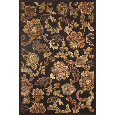 Louisa Chocolate/Tan/Sage/Burgundy Area Rug Rug Size: 53 x 76