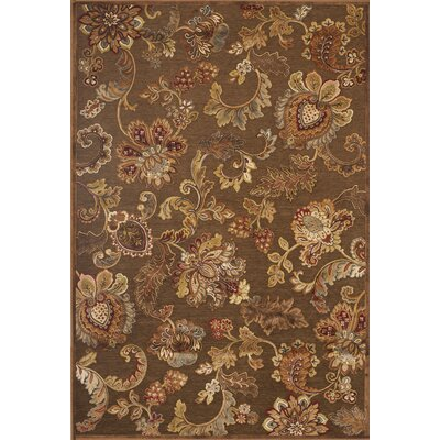 Louisa Brown/Tan/Ivory/Burgundy Area Rug Rug Size: 53 x 76
