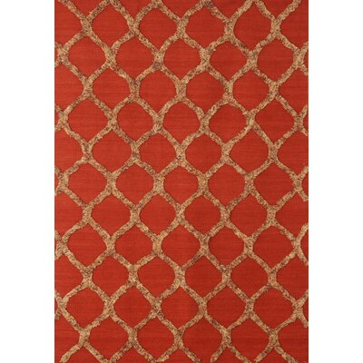 Bliss Hand-Woven Wool Red Rug Rug Size: 5 x 8