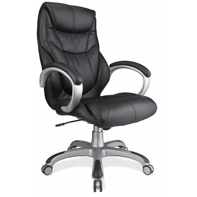 High-Back Executive Chair with Arms Seat Color: Black, Frame Color: Silver Product Photo 215