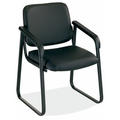 Value Sled Base Guest Chair Seat Color: Black Leathertek, Arm: Yes