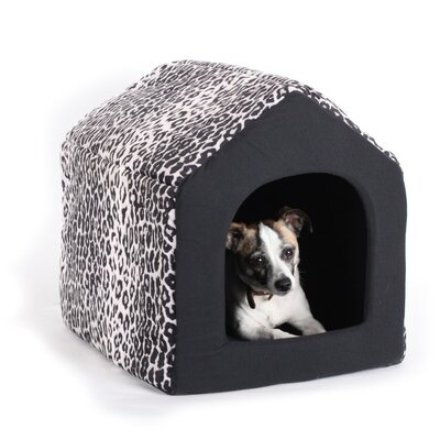 "Pet Furniture 2-in-1 Dog House Sofa Size: Large (18"" L x 16"" W), Color: Black Leopard Print"