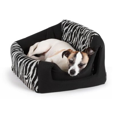 "Pet Furniture 2-in-1 Dog House Sofa Color: Black Zebra Print, Size: Large (18"" L x 16"" W)"
