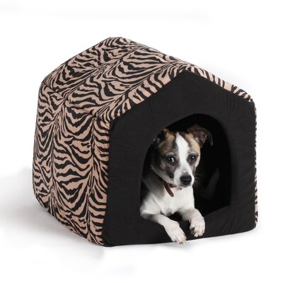 "Pet Furniture 2-in-1 Dog House Sofa Size: Large (18"" L x 16"" W), Color: Brown Zebra Print"