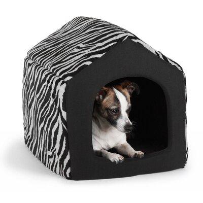 "Pet Furniture 2-in-1 Dog House Sofa Size: Medium (16"" L x 15"" W), Color: Black Zebra Print"