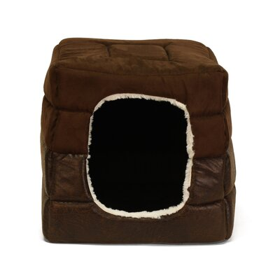2-in-1 Pet Cube-Cuddler Faux Leather Dog Bed/ Cat Bed Size: Large (18 L x 18 W)