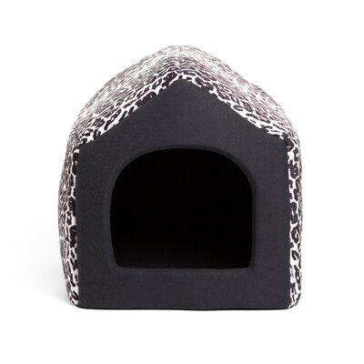 Pet Furniture Pet House-Sofa Zoo Hooded Size: Medium (16 L x 15 W), Color: Black Leopard Print