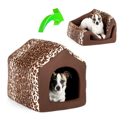 Pet Furniture Pet House-Sofa Zoo Hooded Size: Large (18 L x 16 W), Color: Brown Leopard Print