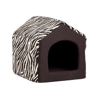 Pet Furniture 2-in-1 Dog House Sofa Size: Medium (16 L x 15 W), Color: Black Zebra Print