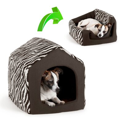 2-in-1 Pet House-Sofa Zoo Dog Bed / Cat Bed Size: Large (18 L x 16 W), Color: Black Zebra Print